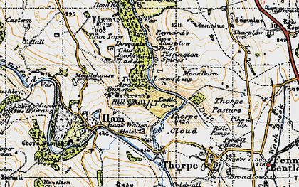 Old map of Dovedale in 1946