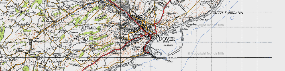 Old map of Dover in 1947