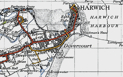 Old map of Dovercourt in 1946