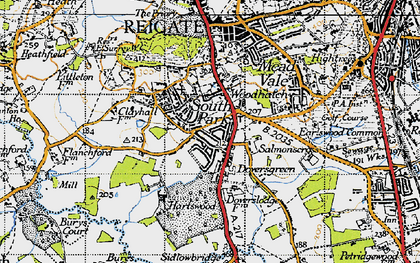 Old map of Doversgreen in 1940