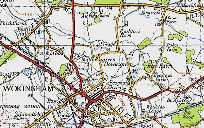 Old map of Ashridge Manor in 1940