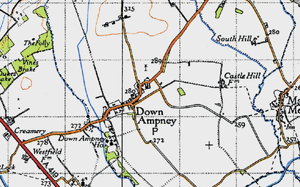 Old map of Down Ampney in 1947