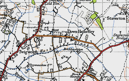 Old map of Down Hatherley in 1947