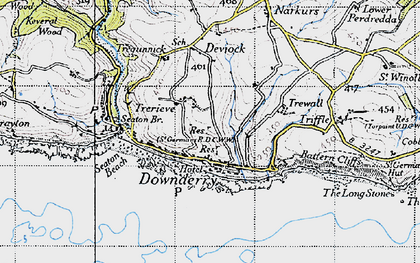 Old map of Downderry in 1946