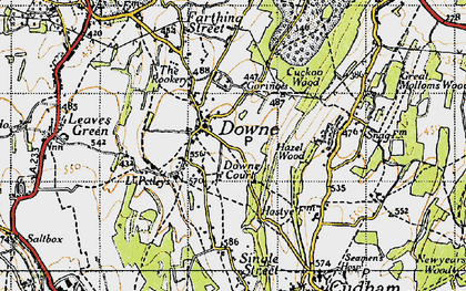 Old map of Downe in 1946