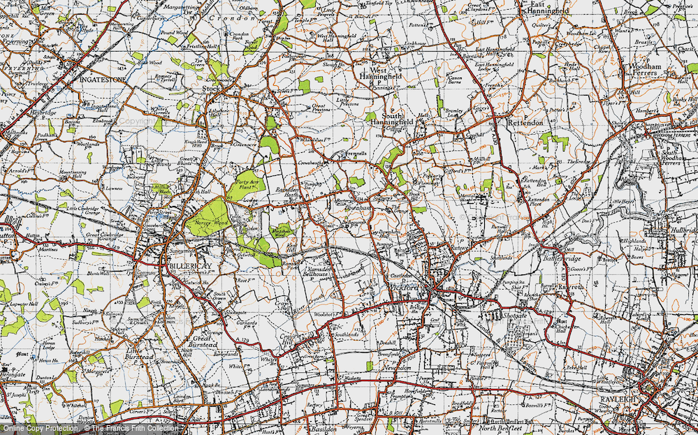 Old Map of Downham, 1945 in 1945