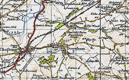 Old map of Downham in 1947