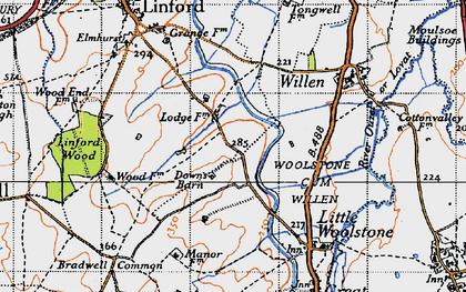 Old map of Willen Park in 1946