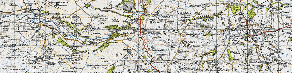 Old map of Downholme in 1947