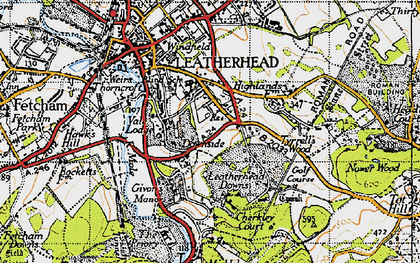 Old map of Downside in 1945