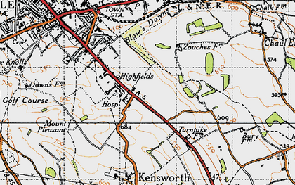 Old map of Downside in 1946