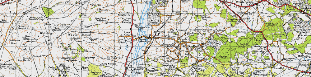 Old map of Downton in 1940