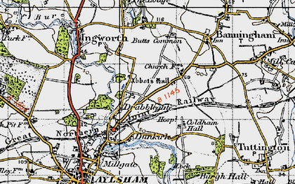 Old map of Abbot's Hall in 1945