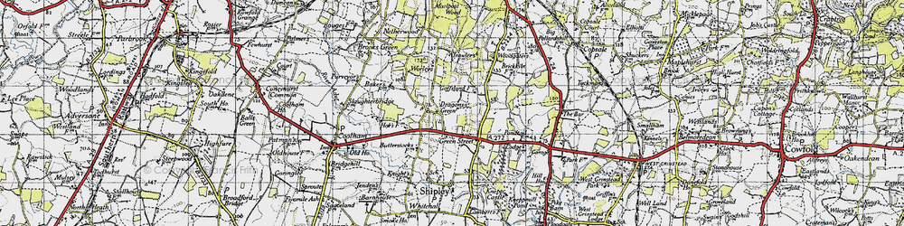 Old map of Woodgetters in 1940