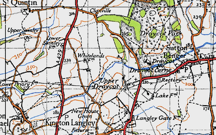 Old map of Draycot Cerne in 1947