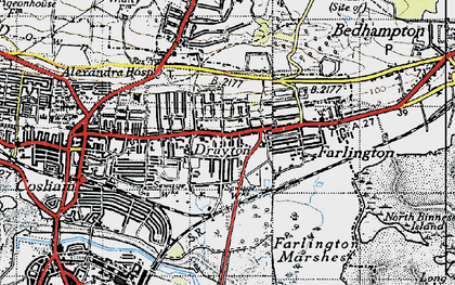 Old map of Drayton in 1945