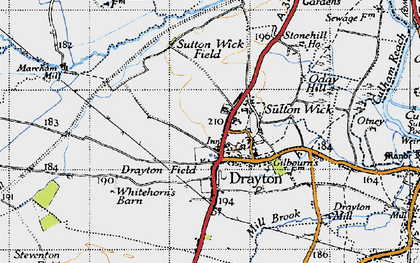 Old map of Drayton in 1947