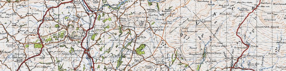 Old map of Afon Llwchwr in 1947