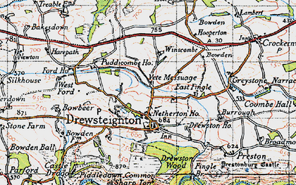 Old map of Whiddon Wood in 1946