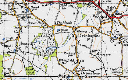 Old map of Drinkstone in 1946