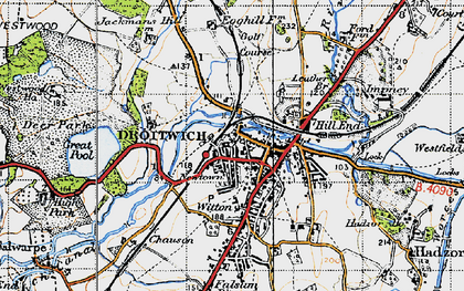 Old map of Droitwich Spa in 1947