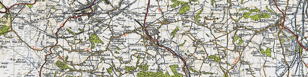 Old map of Dronfield in 1947