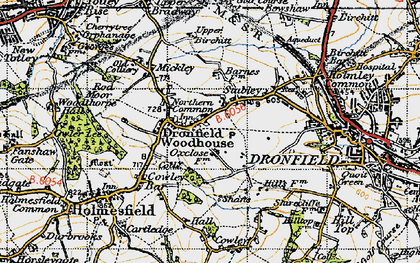 Old map of Dronfield Woodhouse in 1947