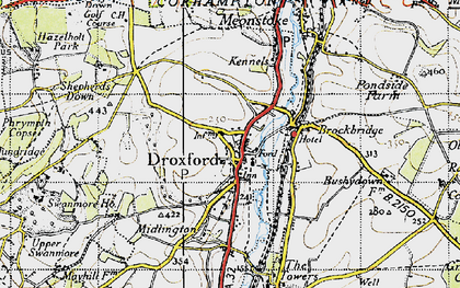 Old map of Droxford in 1945
