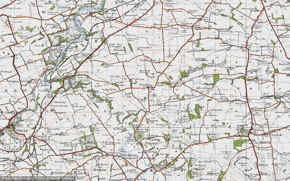 Old Map of Historic Map covering Tindal Ho in 1947