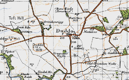 Old map of Duddo in 1947