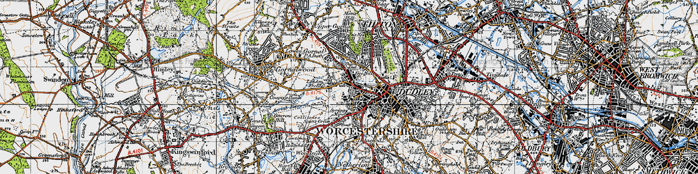 Old map of Dudley in 1946