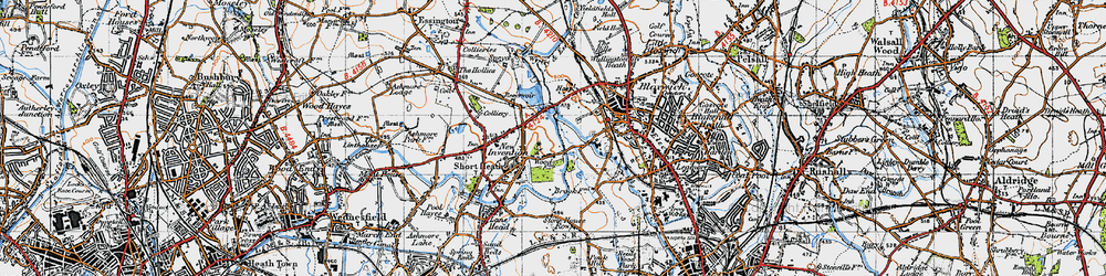 Old map of Wyrley and Essington Canal in 1946