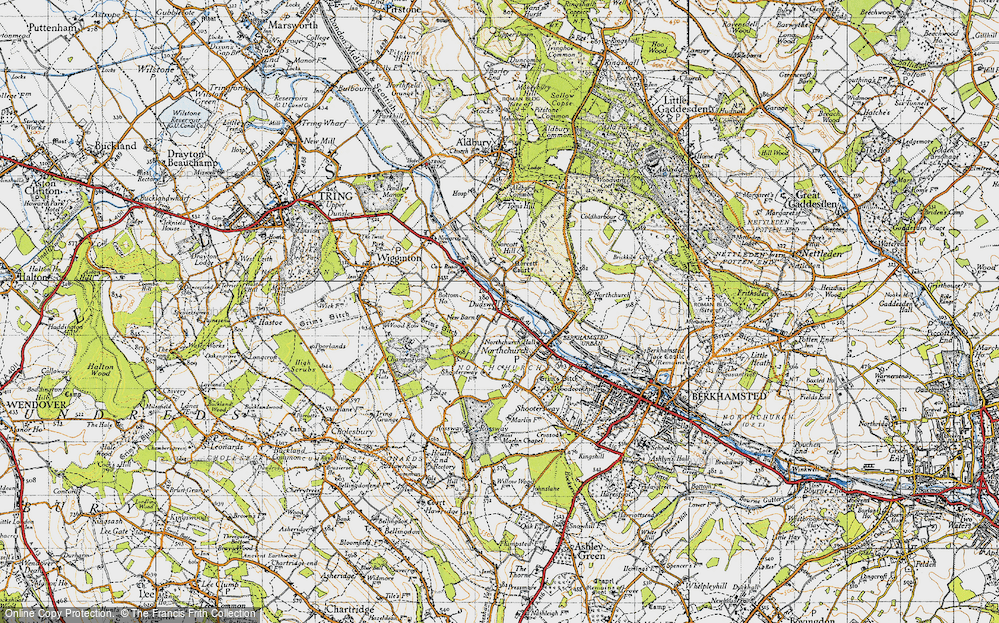 Old Map of Historic Map covering Tinker's Lodge in 1946