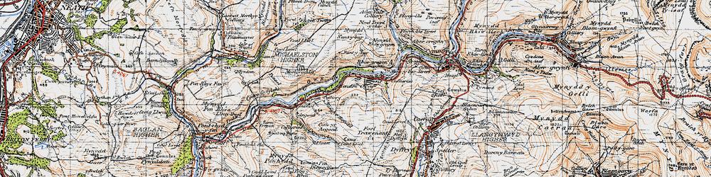 Old map of Duffryn in 1947