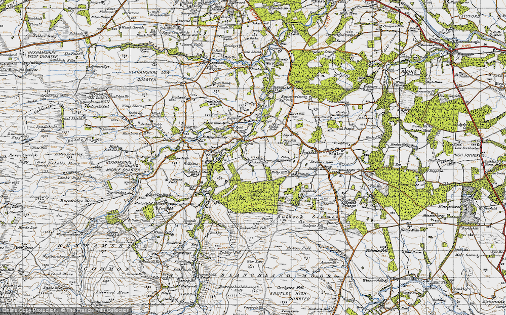 Old Map of Historic Map covering Acton Fell in 1947