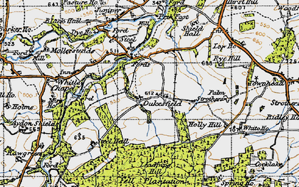 Old map of Acton Fell in 1947