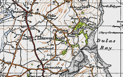 Old map of Ynys y Carcharorion in 1947