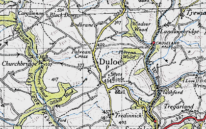 Old map of Duloe in 1946