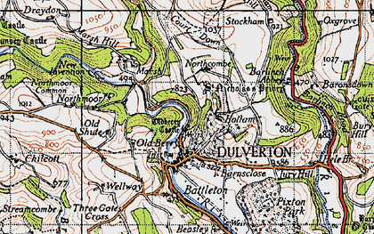 Old map of Dulverton in 1946