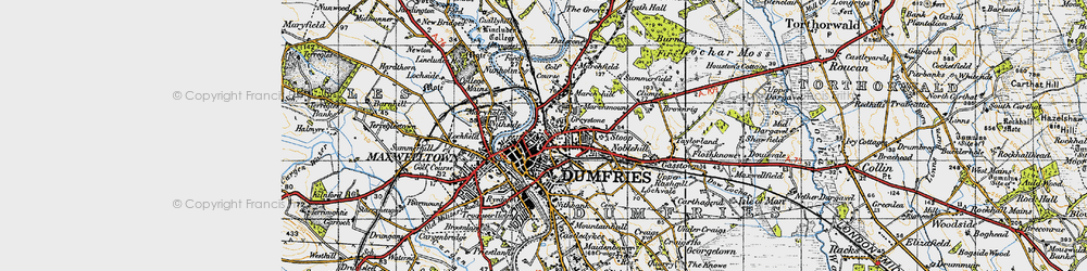 Old map of Dumfries in 1947