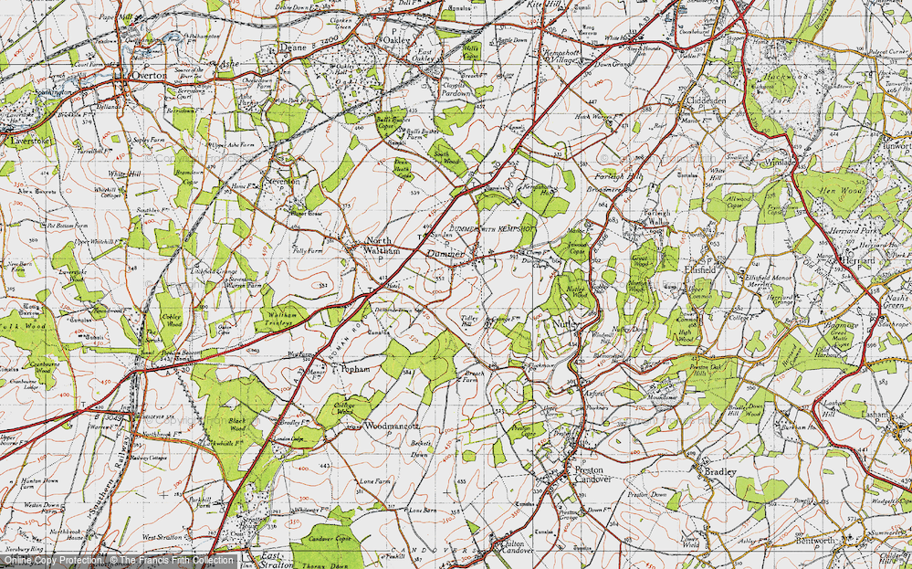 Old Map of Historic Map covering Tidley Hill in 1945