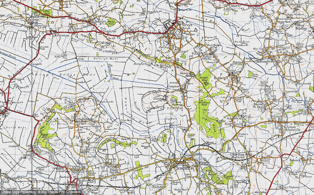 Old Map of Dundon, 1945 in 1945