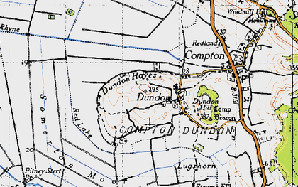 Old map of Dundon in 1945