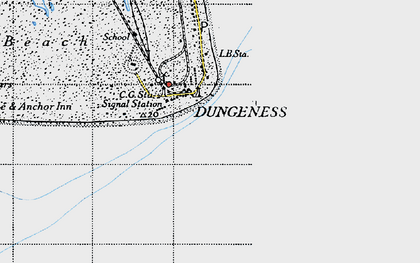 Old map of Dungeness in 1940