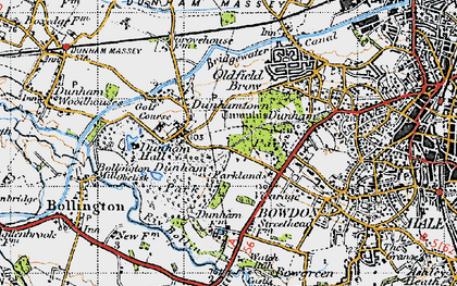 Old map of Dunham Massey Hall in 1947