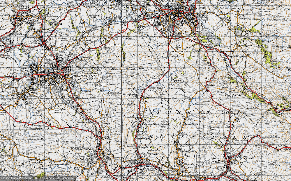 Old Map of Historic Map covering Limy Water in 1947