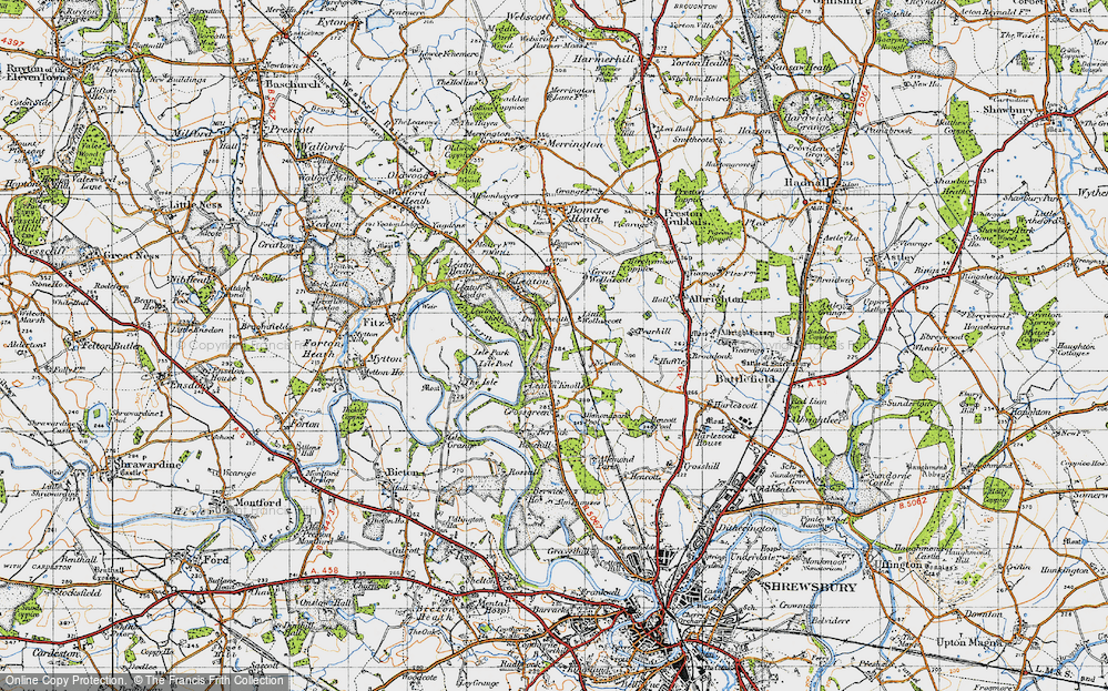 Old Map of Historic Map covering Leaton Shelf in 1947
