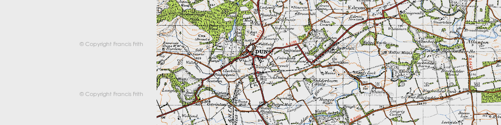 Old map of Duns in 1947