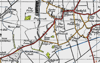 Old map of Lings Windmill in 1947