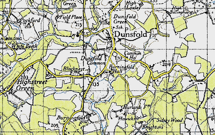 Old map of Dunsfold Common in 1940